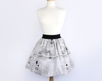 SALE!! Black and White  A-Line Pleated Vintage Newspaper Skirt