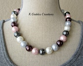 South Seas Shell Pearl Necklace Pastel Pearl Necklace Sterling Silver Pink Purple Grey Pearl Statement Necklace
