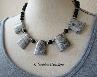 50% Off SALE Grey Statement Necklace Black Onyx Bali Sterling Silver Bib Necklace, Black Grey Gemstone Chunky Beaded Necklace