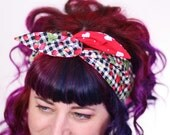 SALE - Rockabilly Reversible Wired Bow Headband, Navy Gingham with Strawberries and Red with White Hearts - Christmas In July CIJ
