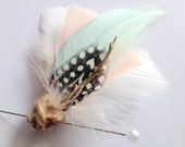 MINT DOT Feather Boutonniere in Ivory, Blush Coral and Mint with Dotted Guinea, Twine and Gold Branch