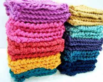 Set of 4 Knit Face Scrubbies, Wash Cloth Minis, Pima Cotton Spa Set, Set 4 Face Scrubbies, Knit Face Cloth Minis, Colorfast, Made to Order