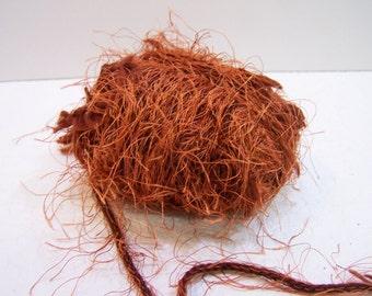 Trendsetter Omega Eyelash Bulky Yarn Color 1434 Burnt Orange, Destash Yarn, Bulky Yarn Pumpkin Orange, Fuzzy Yarn, Bulky Yarn Rust