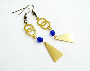 Boho Dangle Earrings, Long Brass Earrings, Infinity Earrings, Festival Jewelry