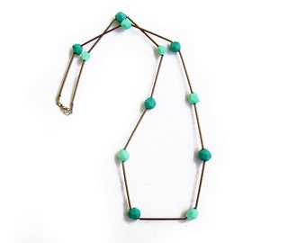 Skinny Bar Geometric Necklace - Mint Teal Geometric Necklace - Polymer Clay  Raw Brass Necklace
