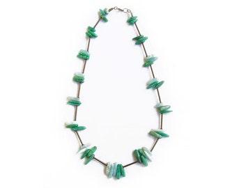 Mint Gemstone Necklace, Mint Amazonite, Orange Amazonite Spike Necklace, Boho Gemstone Necklace, Orange Gemstone, Convertible Necklace