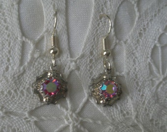 Vintage Pink Faceted Amethyst Stone Dangle Gold Tone Earrings