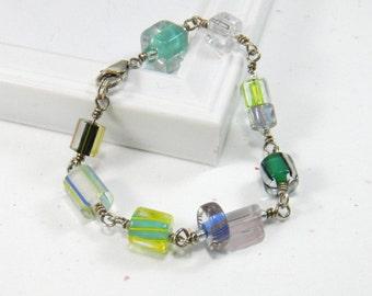 Blue and Green Glass Bracelet Wire wrapped bracelet Cane Glass Blue Yellow Green Black Sterling Silver bracelet