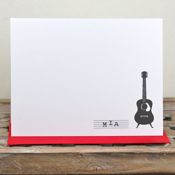 Guitar Thank You Cards, Guitar Note Cards, Guitars, Guitar Note Cards, Guitar Stationery, Guitar Stationary