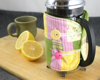 SALE!!  French Press Coffee Cozy in Green, Pink and Yellow by Nstarstudio