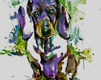Dachshound (Doxie) Watercolor Dog Print signed by the Artist Carol Ratafia, double matted to 10x12