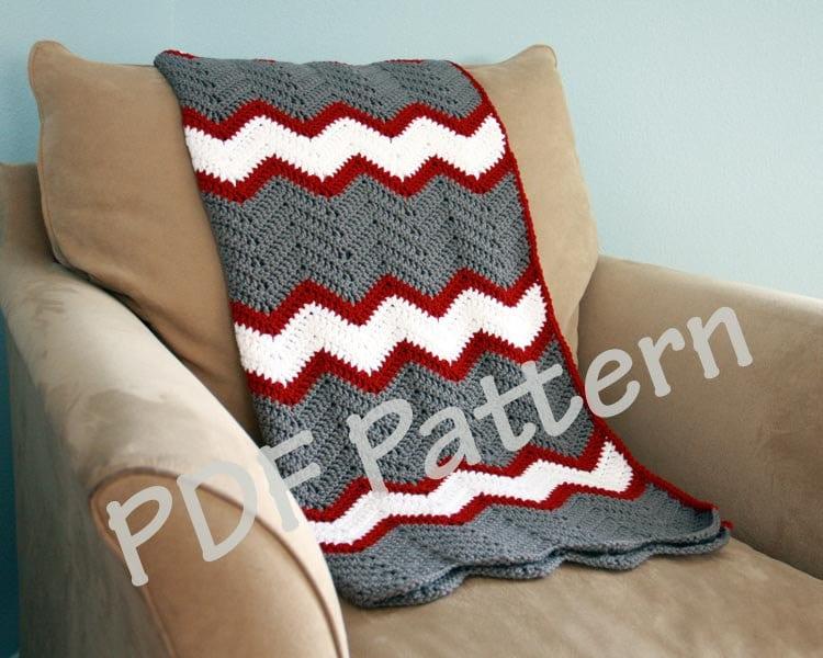 Crochet throw pattern chevron blanket pattern crochet afghan