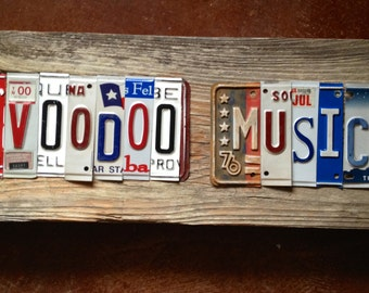 VOODOO Music OOAK upcycled recycled license plate art sign tomboyART tomboy J B Lenoir New Orleans