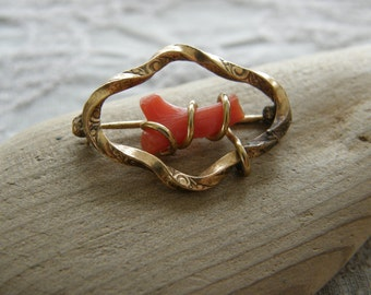 Antique red branch coral brooch