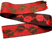 """Vintage Bright Red Jacquard Woven and Gold Metallic Trim Ribbon with Lovely Reverse - 27"""" x 2"""""""