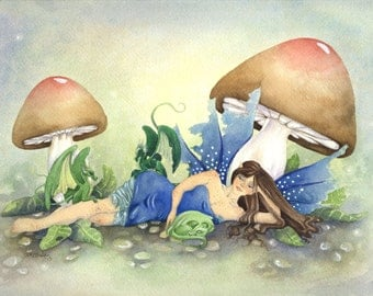 Fairy Art Print - 8.5x11 - Babysitting Dragons - fantasy. watercolor art. fine art. dragon. cute. green. blue. woodland.