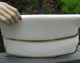 Vintage 70s Sleek White Vinyl Clutch with Goldtone Trim
