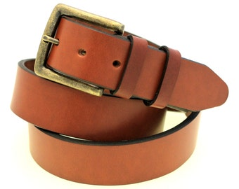 "American Made 1 1/2"" Men Or women's Medium Brown English Bridle Leather Belt Double Loops Square Buckle with Antique Brass Finish"
