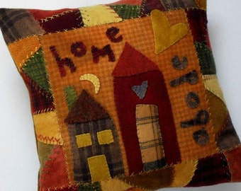 "PATTERN - Primitive Folk Art Wool Applique Pillow - ""Crazy Neighbors"" (Pattern No. CN-136)"