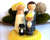 Custom Family of 4 Wedding Cake Toppers Keepsake Wood Peg Dolls Wooden Peggies Peg People Decor Ornament Decoration Bridal Tulle Skirt Cute