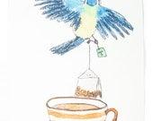 Bird making a cup of tea, tea towel