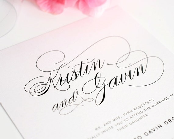 Font Used For Wedding Invitations: Simple Elegant Script Wedding Invitation By ShineInvitations