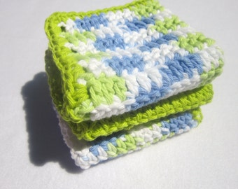 Cotton Dish Cloths or Wash Cloths  Set of Three in Lime Green Blue and White