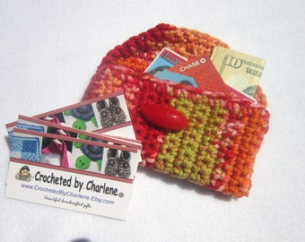 Crocheted Purse Pouch Business Card Holder Red and Orange