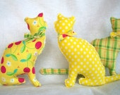 3 Plush Kitty Miniatures in Spring Colors