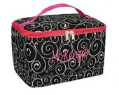 Personalized Large Cosmetic Case (BLACK SWIRL)