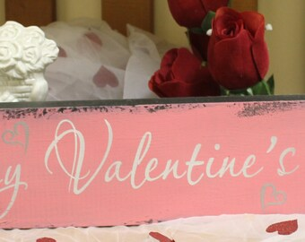 Happy Valentine's Day Sign/Shelf Sitter/Mantel Fireplace Sign/Photo Prop/Pink/Silver/White/Wood Sign