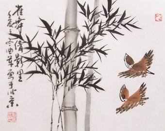 original ink painting bamboo painting chinese painting oriental art chinese art -lovely bamboo with birds No.28