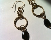 Smokey Quartz Gemstone Earrings, Gold Drop Chain with Faceted Gemstones, Wire Wrapped Earrings in 24 KT Gold Overlay