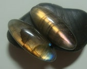 Labradorite Smooth Oval Cabochon, One Pair, 25x10mm, AAA, Amazing Fiery Copper Gold Blue Purple Flash - F3-8