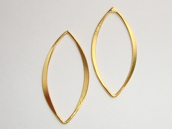 18k Gold Sterling Silver Beautiful Hammered Marquis