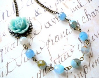 Beach Wedding Turquoise Necklace Flower Necklace Turquoise Bridesmaid Jewelry Summer Bridesmaid Necklace Maid Of Honor Wedding Jewelry