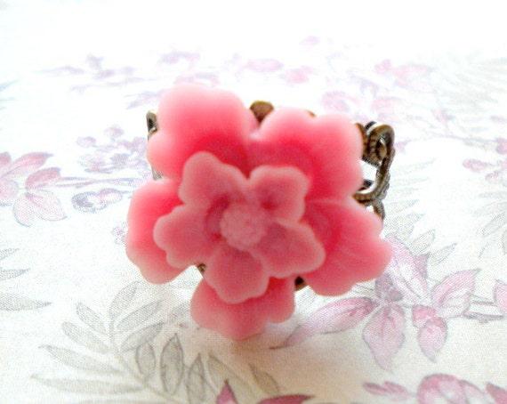 Pink Flower Ring Statement Pink Ring Romantic Pastel Ring Adjustable Bronze Filigree Ring with Resin Flower