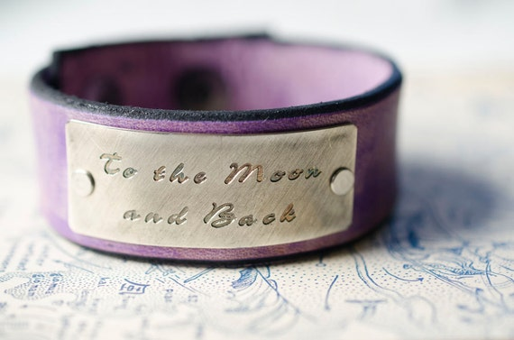 To the Moon and Back - Adjustable Lavender Leather Snap Cuff with Engraved Metal Plate