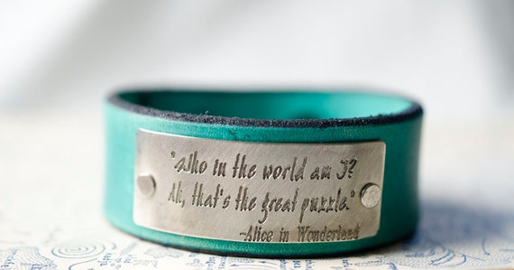 Who am I Alice in Wonderland -  Adjustable Leather Snap Cuff with Engraved Metal Plate