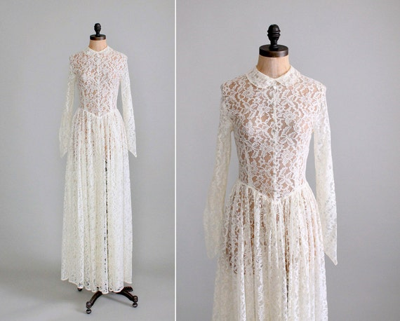 Reserved Vintage 1940s Wedding Dress 40s Ivory Lace Long