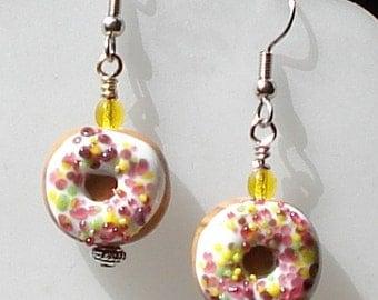 White Glazed Multi Color Sprinkle Doughnut Earring Lamp Work Glass