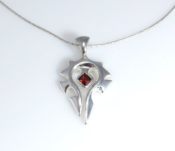 Silver Horde Necklace with Garnet CZ center