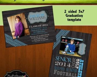 INSTANT Download Leather and Woodgrain 5x7 Senior Graduation Announcement Templates/PSD files