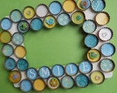 Birds and Flowers Bottle Cap Picture Frame