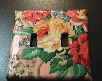 Roses on Pink Double Toggle Light Switch Plate Cover