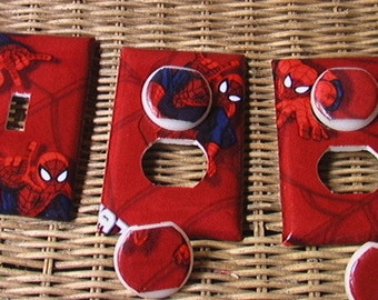 Spiderman Set Single Switch Plate and 2 Outlets includes child safety plugs