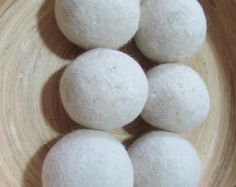 100% Alpaca Dryer Balls, Creamy White, set of 6. ready to ship