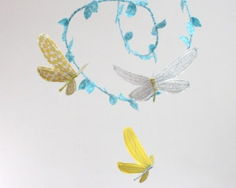 Dragonfly Mobile for Nursery- 3 dragonflies dream of spring - fabric mobile in neon yellow, silver gray and aqua blue- Free US Shipping