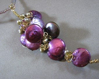 A Bunch of Grapes Pendant wire wrapped pearls Necklace