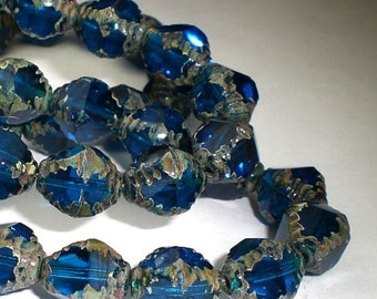 Picasso Czech Glass Beads 10mm Carved Bicone Capri Blue Bead 10 Pcs. B-068